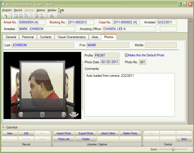 Arrests and Booking Software Screen Shot
