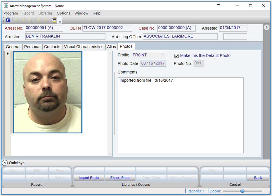 Arrest and Booking System for Law Enforcement Software